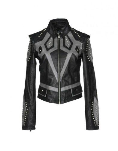New Women Black Grey Silver Studded Fashion Brando Cowhide Biker Leather Jacket In 2020 Celebrity Jackets Custom Leather Jackets Brown Leather Jacket Men