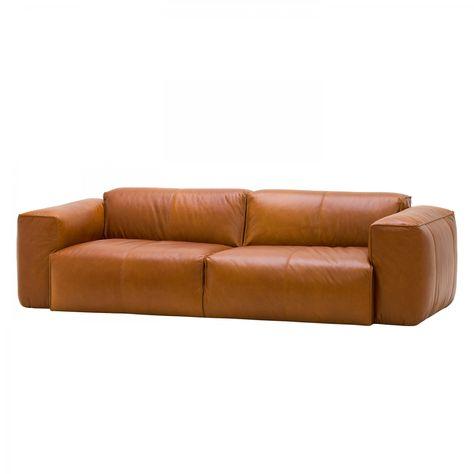 Moderne eckcouch leder  Sofa Hudson II (3-Sitzer) - Echtleder - Anilin-Leder Dub Cognac ...