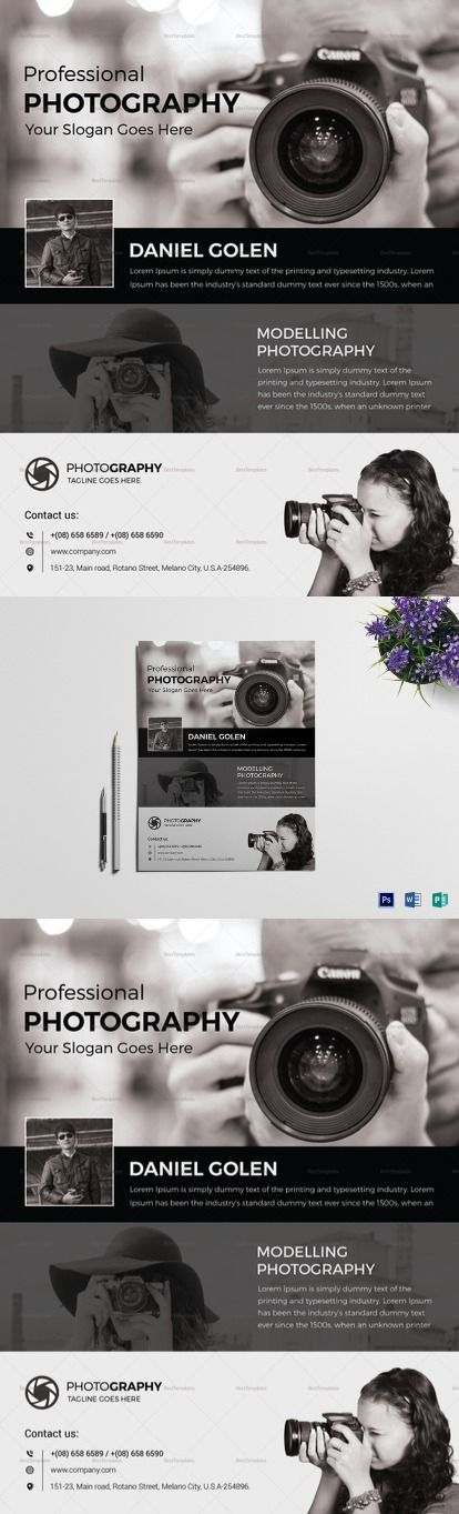 Photography Flyer Template for Digital Photographers, High Quality - sample advertising contract template
