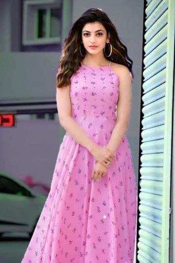 Kajal Aggarwal Fashion Print Chiffon Dress Beautiful Dresses