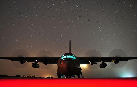 C-130 on Flightline on Starry Night