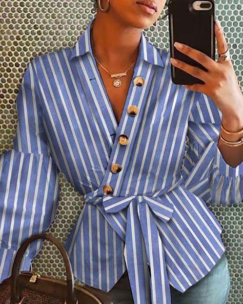 Striped Bell Sleeve Buttoned Deisgn Shirt