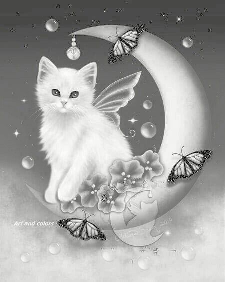 Butterfly Cat Kitten Fairy Butterfly Crescent Moon Coloring pages colouring adult detailed advanced printable Kleuren voor volwassenen.