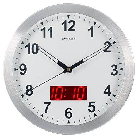 Kwanwa Wall Clock Digital Battery Operated Only With Big 1 2 Led Time Or Temperature Display And 12 Metal Frame For Kitc Wall Clock Digital Clock Wall Clock