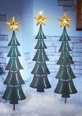 Solar Christmas Tree Stakes With Star Tree Toppers- Set of 3