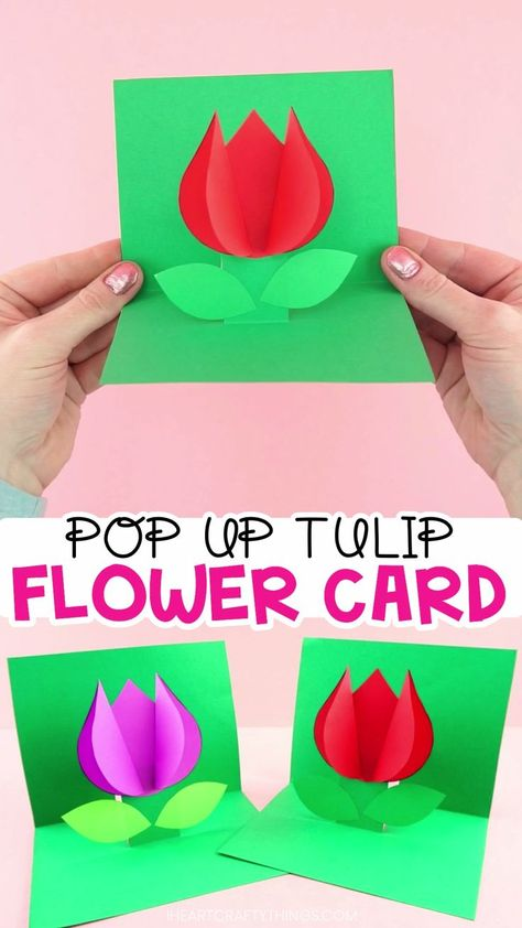How to Make a Pop Up Flower Card -Easy spring tulip craft for kids! Use our free template to create this easy pop up flower card for a spring kids craft. Simple Mother's Day card or Valentine's Day card for kids to make. #iheartcraftythings