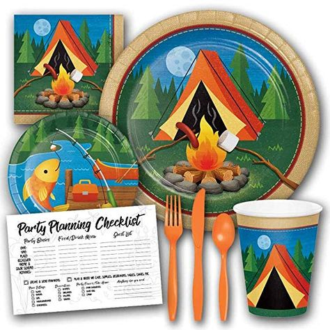 Serves 8 Guests Honey Dew Gifts Camp Out Camping Theme Birthday Party Supplies Set