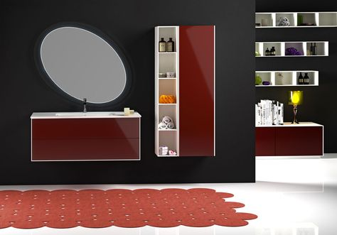 Serie Parigi Modello Cm 105 Con Frontale In Laccato Rosso Euro Bagno Arredobagno E Mobili Da Bagno Bathroom Furniture Sin Mobile Bagno Bagno Arredamento Bagno