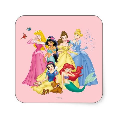 Disney Princesses 3 Stickers #disney #princesses #square #stickers #characters #girls