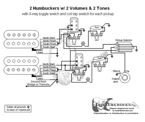 2 humbuckers 3 way toggle switch 2 volumes 2 tones coil tap in 2019 Guitar 3-Way Switch Diagram guitar wiring diagram 2 humbuckers 3 way toggle switch 2 volumes 2 tones individual coil taps