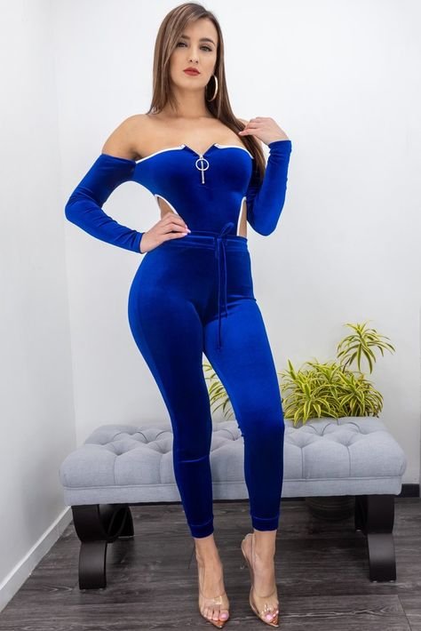 Off Shoulder Velvet Skinny Jumpsuit