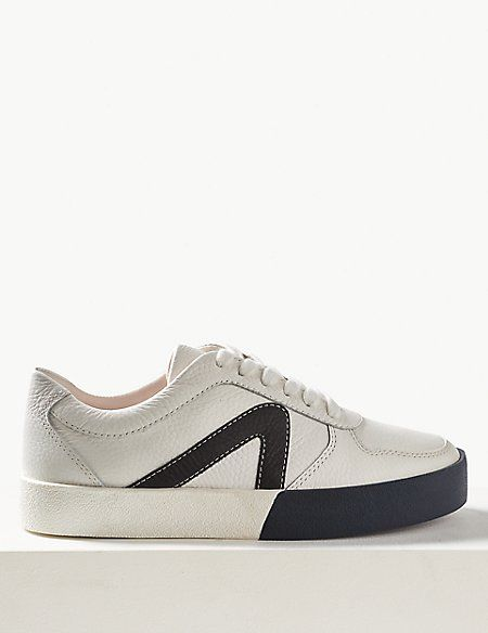 Leather Lace-up Trainers | M\u0026S
