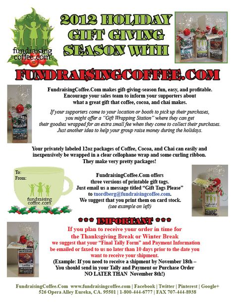 FUNDRAISING WITH COFFEE FundraisingCoffeeCom Generic Menu - we - generic purchase order