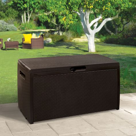 Rattan Effect Plastic Garden Storage Box Departments DIY at - rattan gartenmobel braun