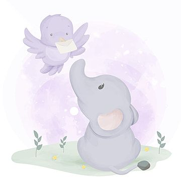 Baby Elephant Get Mail From Bird Baby Elephant Clipart Adorable Animal Png And Vector With Transparent Background For Free Download Baby Elephant Elephant Background Elephant