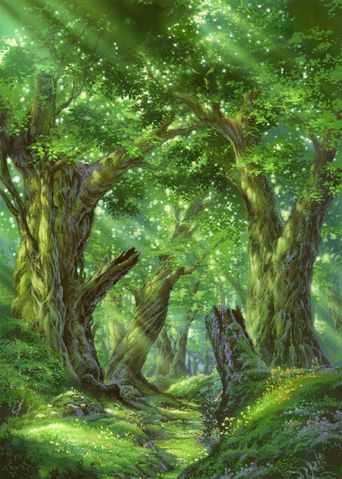 enchanted forest sunlight through trees RPG setting inspiration for fantasy game like Pathfinder or DnD