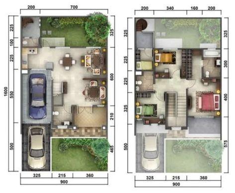 5 denah rumah minimalis ukuran 9x16 meter 4 kamar tidur 2