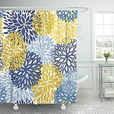 Tompop Shower Curtain Green Spring Flower Blue Yellow And Navy