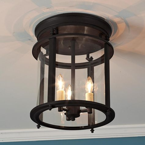 """Classic Ceiling Lantern - LargeClassic Ceiling Lantern: Enjoy the lovely candlelight effect from this highest quality solid brass lantern, especially where ceiling height is limited. Blackened bronze or natural Brass with clear curved glass. 3x60 watts. (candle base socket) (12.5""""H x10.5""""W)"""