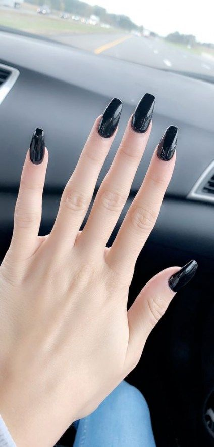 Trendy Nails Acrylic Black Tips 49 Ideas Black Nails Black Acrylic Nails Black Coffin Nails