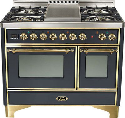 Ilve Umd100fdmpm 40 034 Majestic Pro Dual Fuel Gas Range Double Oven Brass Trim Dual Oven Ilve Dual Fuel Ranges