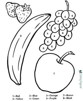 color by number printable worksheets | Fruit coloring pages ...