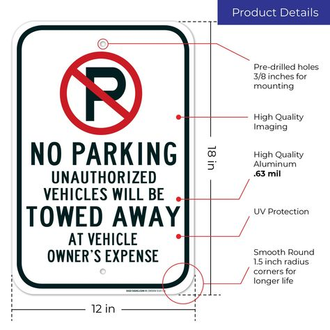 No Parking Sign With Symbol Tow Away Zone Sign Large 12x18 Rust Free 63 Aluminum Uv Printed Easy To Mount Weather Resistan Parking Signs Towing Rust Free