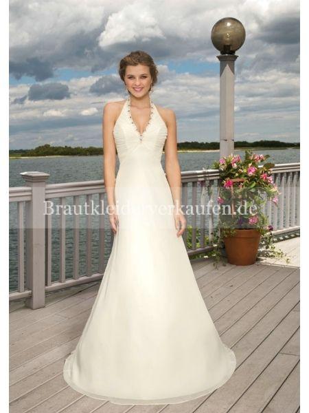 Princess-Stil V-Ausschnitt Neckholder Chiffon Hochzeitskleid WL0079