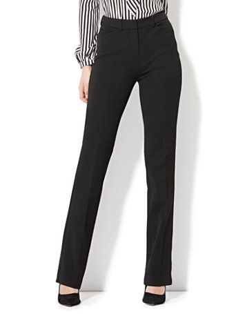 High-Waisted Mini Bootcut Pant - Modern Fit - Black - SuperStretch - Avenue - New York & Company Black Slacks Outfit, Dress Slacks For Women, Black Dress Pants, Pants Outfit, Sweater Outfits, Pants For Women, Black Skinnies, Clothes For Women, Business Outfits