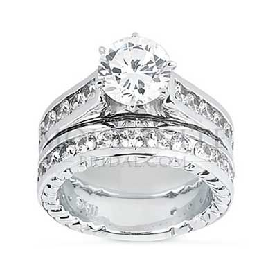 Cathedral Style Round Brilliant moissanite wedding ring Set