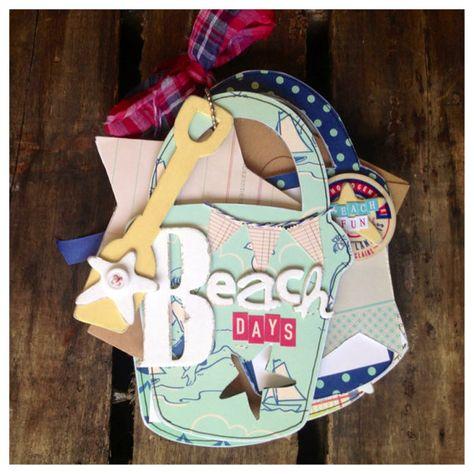 Beach Days~ Shabby Chic seaside sand pail bucket COMPLETED mini album