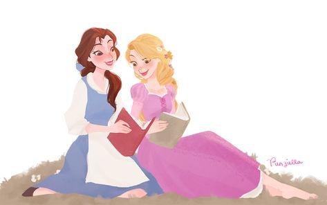 Disney Princess Fan Art: Belle and Rapunzel