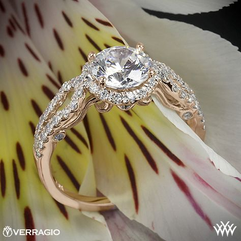 Rose Gold Verragio 4 Prong Round Halo Diamond Engagement Ring from the Verragio Insignia Collection.