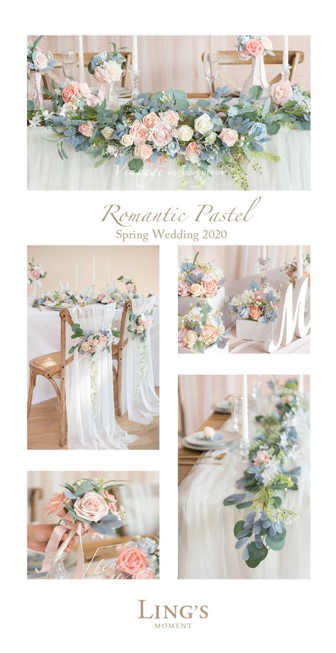 Romantic Pastel Floral Garland For Spring Wedding 2020, 10% Off First Order