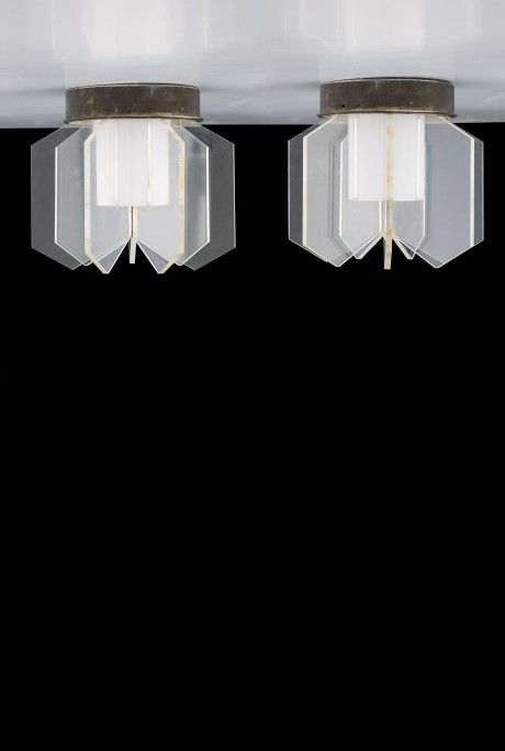 Anonymous; Aluminum and Perspex Ceiling lights by Arteluce, 1950s.