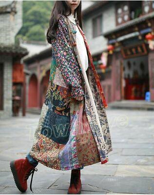 Chic Folk Women Loose 100/% Cotton Dress Retro Floral Art Linen Long Button Coats