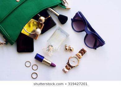 Top View Accessories Top View Accessories For Woman Stylish Sunglasses Green Bag Gold Watch Lips Fashion Accessories Stylish Sunglasses Green Handbag