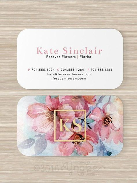 Floral Business Card Faux Gold Foil Florist Flowers Pink