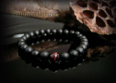 Fashion Hommes Femmes 8 Mm Onyx Lava Rock Oeil de Tigre Tête Loup Couple Charm Bracelets