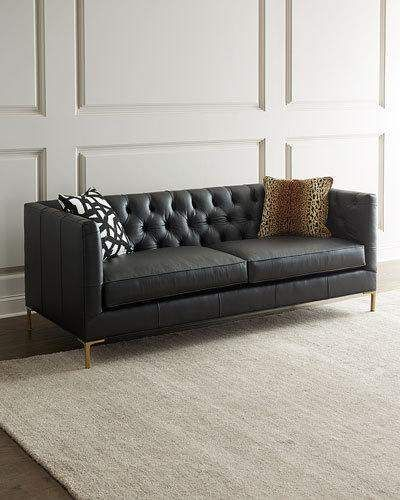 Ellyson Leather Tufted Sofa 84 Handcrafted Tufted Sofa In Leather Includes Two Animal Print Toss Pillows Polyester Tufted Sofa Sofa Frame Sofa Design