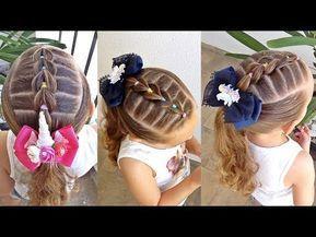 Penteado Infantil Fácil Com Elásticos Coloridos E Laço De