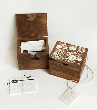 I can't think of many items that can be currently purchased that have heirloom potential and that aren't wildly expensive. Each of these recipe boxes is hand-carved from local hardwood and takes three months to finish. Wowza! Probably the best wedding gift I've seen ever, too.