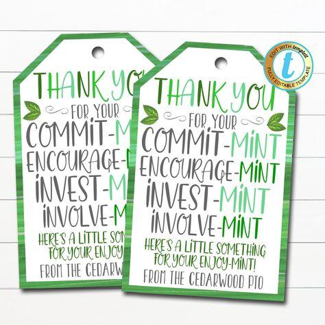 Thank You Mint Tags, Volunteer Mint Labels, Thank You Gift, School pto pta Staff Employee Teacher Appreciation Gift, DIY Editable Template