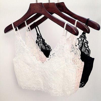 Damen Mode BH Crochet Spitze Kurz Crop Top Zipper Bralet Bra Vest in Kleidung & Accessoires, Damenmode, Blusen, Tops & Shirts | eBay