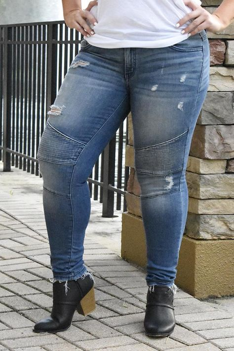 These Medium Wash Premium Moto Jeans look amazing on every shape and size!!  They also have awesome stretch to keep you comfortable!