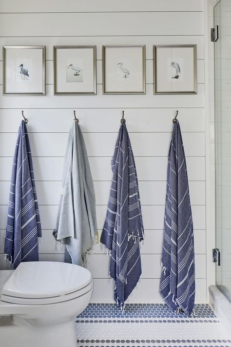 Bunk Room Bath from the Southern Living 2019 Idea House with Robe hooks and bath hardware by Emtek 59 Best Solution Small Apartment Living Room Decor Ideas Beach House Bathroom, Beach House Decor, White Bathroom, Beach House Furniture, Beach Condo, Seaside Decor, Beach Bathrooms, Coastal Cottage, Coastal Homes