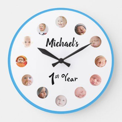 Baby S 1st Year 12 Month Photos Birthday Large Clock Zazzle Com Birthday Gifts For Girls 1 Year Birthday Baby Month By Month