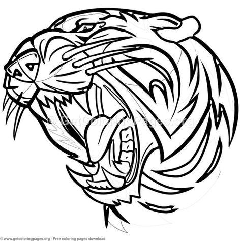 tiger head roaring coloring pages free instant download