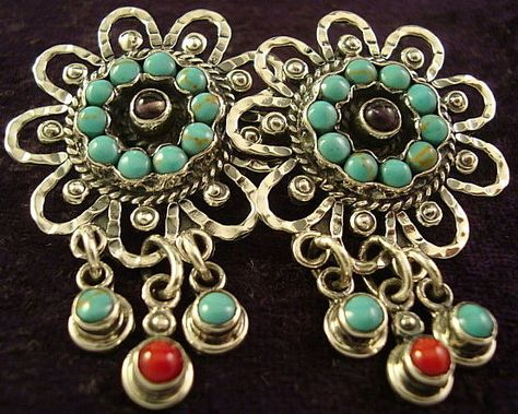 TAXCO MEXICAN STERLING SILVER VINTAGE DESIGN AMETHYST TURQUOISE EARRINGS MEXICO $89.95