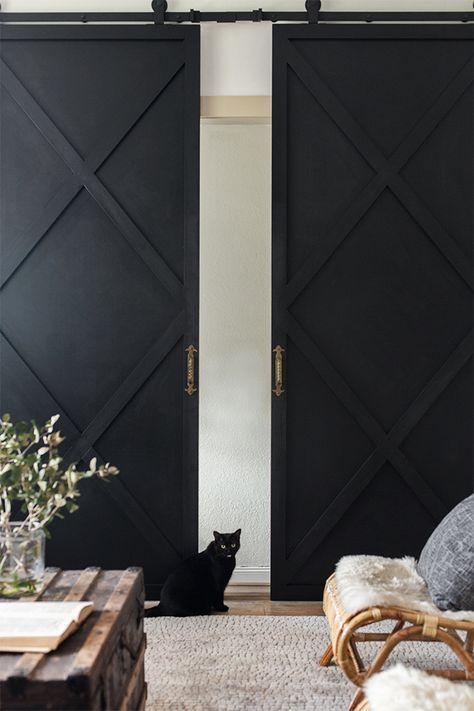 Sharing the plans for these DIY X sliding doors today! This project was another collab with and I just - April 28 2019 at Door Design, Interior, Interior Barn Doors, Home Remodeling, Doors Interior, Diy Door, House Interior, Sliding Doors, Modern Barn